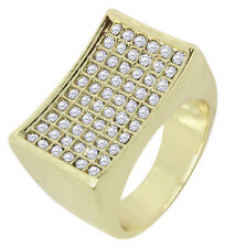 Mens Pinky Ring 14k Gold Plated Cz Concave Design Hip Hop Bling Size 6-12