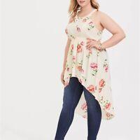 Torrid 1/2/3/4/5X Top Blouse Hi Lo High Neck Tunic Floral Georgette Plus Shirt