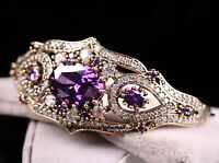 Turkish Handmade Jewelry Sterling Silver 925 Amethyst Bracelet Bangle Cuff 0624