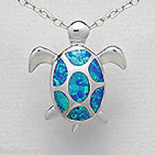 Solid Sterling Silver 24mm Blue Lab Created Opal Swimming Turtle Pedant 4.4g