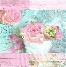 4 Tovaglioli di carta singolo DECOUPAGE. Vintage, Shabby Chic, rose, Rosa Design. -278