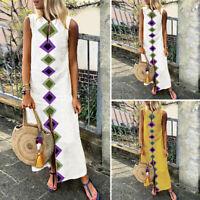ZANZEA 8-24 Women Summer Sleeveless Sundress Cocktail Party Club Long Maxi Dress