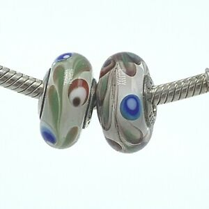 2 Authentic 925 Silver Charm Bubble and Swish European Glass Bead