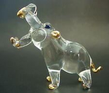 Glass HIPPO HIPPOPOTAMUS Curio Glass Ornament Gold & Clear Glass Animal Ornament