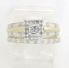 10k Yellow Gold Princess & Round Diamond Engagement Ring Set .44ct