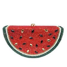 Watermelon Crystal Purse Evening Metal Clutch Bag Wedding Prom Bridal Handbag