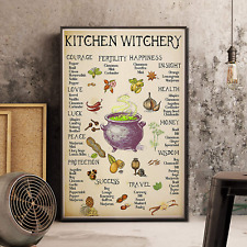 Kitchen Witchery Poster, Witches Poster, Witches Magic Knowledge, Halloween Art,