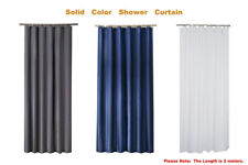 Solid Color Waterproof Thick Polyester Fabric Shower Curtain 2M Long Bathroom