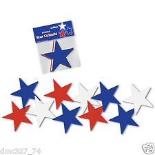 "10 4th of July Summer PATRIOTIC Decoration Die Cut Paper Mini STAR CUTOUTS 5"""