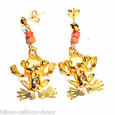 Boucles d'oreilles originales couleur or pendant grenouille bijou earring A2