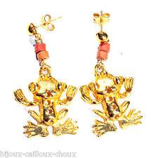 Ohrringe original goldfarben anhänger frosch schmuckstück ohrring