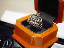 Mens Silver Black Diamond Fleur De Li Ring