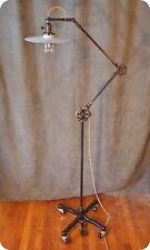 Vintage Industrial Floor Lamp - Machine Age Task Light - Cast Iron - Steampunk