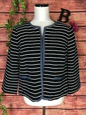 Talbots Blazer Jacket size 12 Navy Blue Striped Sailor Nautical Cruise Beach