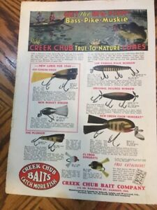 1940 CREEK CHUB Paper AD Color most lures and description mint condition