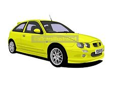 ROVER MG ZR CAR ART PRINT (SIZE A3). CHOOSE YOUR COLOUR, ADD YOUR REG PLATE