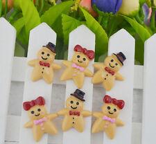 10pcs Gingerbread boy/Woman biscuit resin flatback cabochons 30x24.5mm