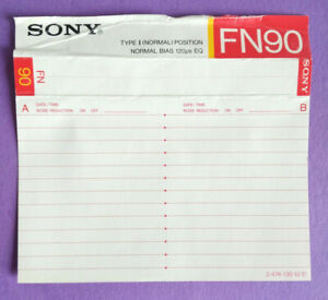 CUSTODIA INLAY MC Musicassetta SONY FN90 fn 90 Compact Cassette Vintage USATA