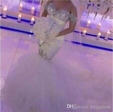 Bling Beads Crystal ivory/white Mermaid Wedding Dress Bridal Gown Custom Size