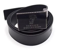 Versace Collection Black Leather Medusa Adjustable Belt 173