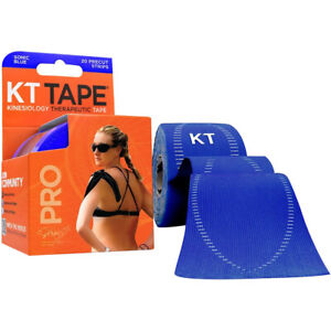 "KT Tape Pro 10"" Precut Kinesiology Elastic Sports Roll - 20 Strips - Sonic Blue"