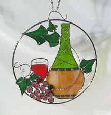 Stain Glass Wine Bottle and Grapes on a Wire Ring