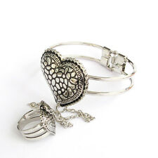 Metal Heart Bangle Bracelet Chain Ring Buy One Get One Free, Alloy