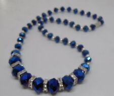 Blue Faceted Graduated Crystal Necklace with Magnetic Clasp
