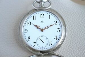 OMEGA Antique 1901`s FULL HUNTING Enameled SILVER Grand Prix Swiss Pocket Watch