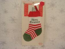 VINTAGE MINIATURE KNIT CHRISTMAS STOCKING NEW UNOPENED PACKAGE GREEN HEEL & TOE