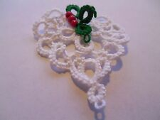 Tatted White Heart with Holly from Dove Country Tatting