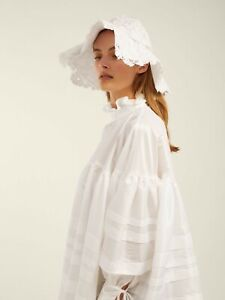 $1090 Cecilie Bahnsen AUTH Pintucked Poplin Macy Flouncy White Dress 6 Oversized