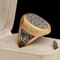 Antique Vintage Deco Sterling Silver Gold Russian Soviet Enamel Ring Sz 6 5.3g