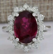 GIA Appraised -Genuine Rubellite and Diamond Ring 6.19ct- 14k Solid White Gold
