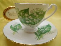 """Shelley  LILY OF THE VALLEY  """" RIPON SHAPE """"   CUP AND  SAUCER   GOLD TRIM"""
