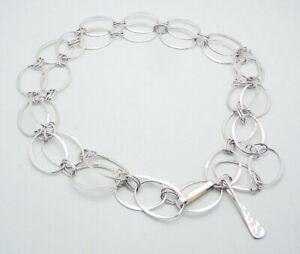 """ROBERT LEE MORRIS RLM Studio Hammered Oval Link 36"""" Necklace in Sterling Silver"""