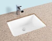 Fiore 20x15 Rectangle Undermount Bathroom Sink, Vitreous Ceramic Lavatory White