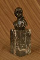 Signed Bronze Sculpture Statue Portrait Bust Woman Girl Nouveau Deco Figure SALE