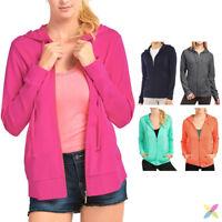 Women's Classic Full Zip Up Hoodie Zipper Hooded Cotton Jacket Sweatshirt