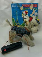 Princess French Poodle BO RC Tin Toy Cragstan Japan Battery Operated Blue Works