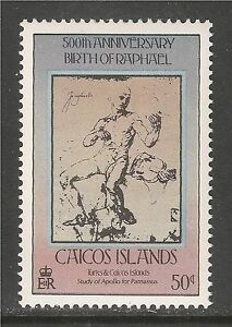 Caicos #33 (C2) VF MINT NH - 1983 50c Study Of Apollo - Drawings By Raphael