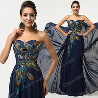 Size 6-18++Peacock Long/Short Wedding Formal Gowns Ball Bridesmaid Evening Dress
