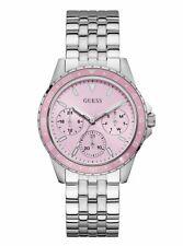NIB Authentic GUESS Womens Silver-Tone Pink Dial Chronograph Watch U1187L2 NWT