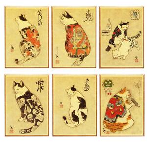 Funny Cute Japanese Cat Tattoo Retro Poster Home Bar Decor Wall Print Art A3 A4