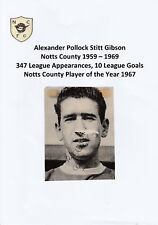 ALEX GIBSON NOTTS COUNTY 1959-1969 RARE ORIGINAL HAND SIGNED MAGAZINE CUTTING