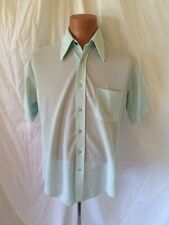 Vintage Sears Men's Store Perma Prest Button Down Light Blue Short Sleeve Shirt