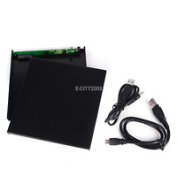 External 9.5mm Slim SATA to USB 2.0 Enclosure Case For CD DVD ROM Burner Writer