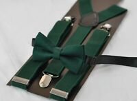 Dark Emerald Green Hunter Green Cotton Bow Tie + Suspenders Braces for All Ages
