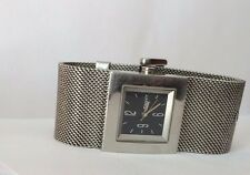 Ladies DKNY Black Square Dial Mesh Stainless Steel Silver tone Bracelet Watch