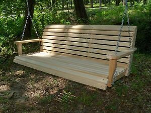 5ft Cypress Wood Porch Swing finished,  cupholders & springs. All hardware inc